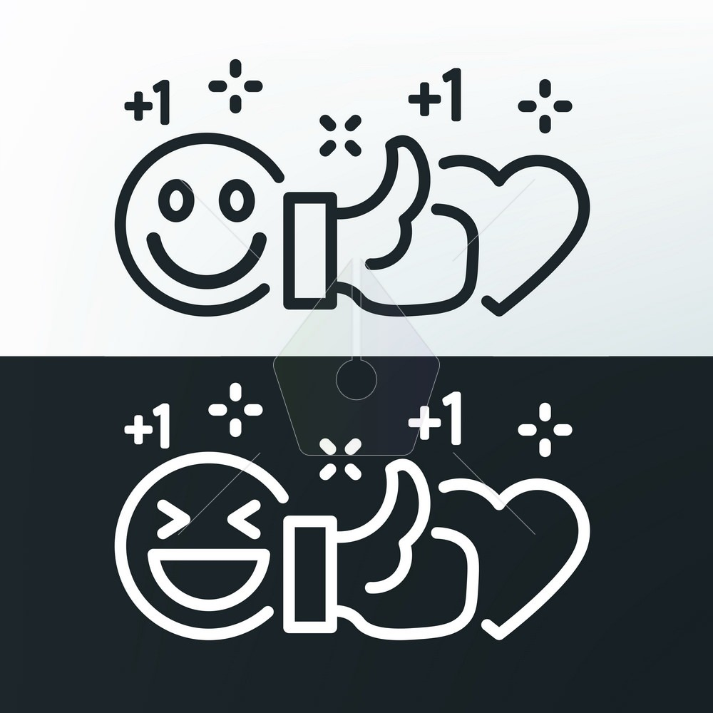 Smile, thumb up and heart. Vector lines black and white icons.