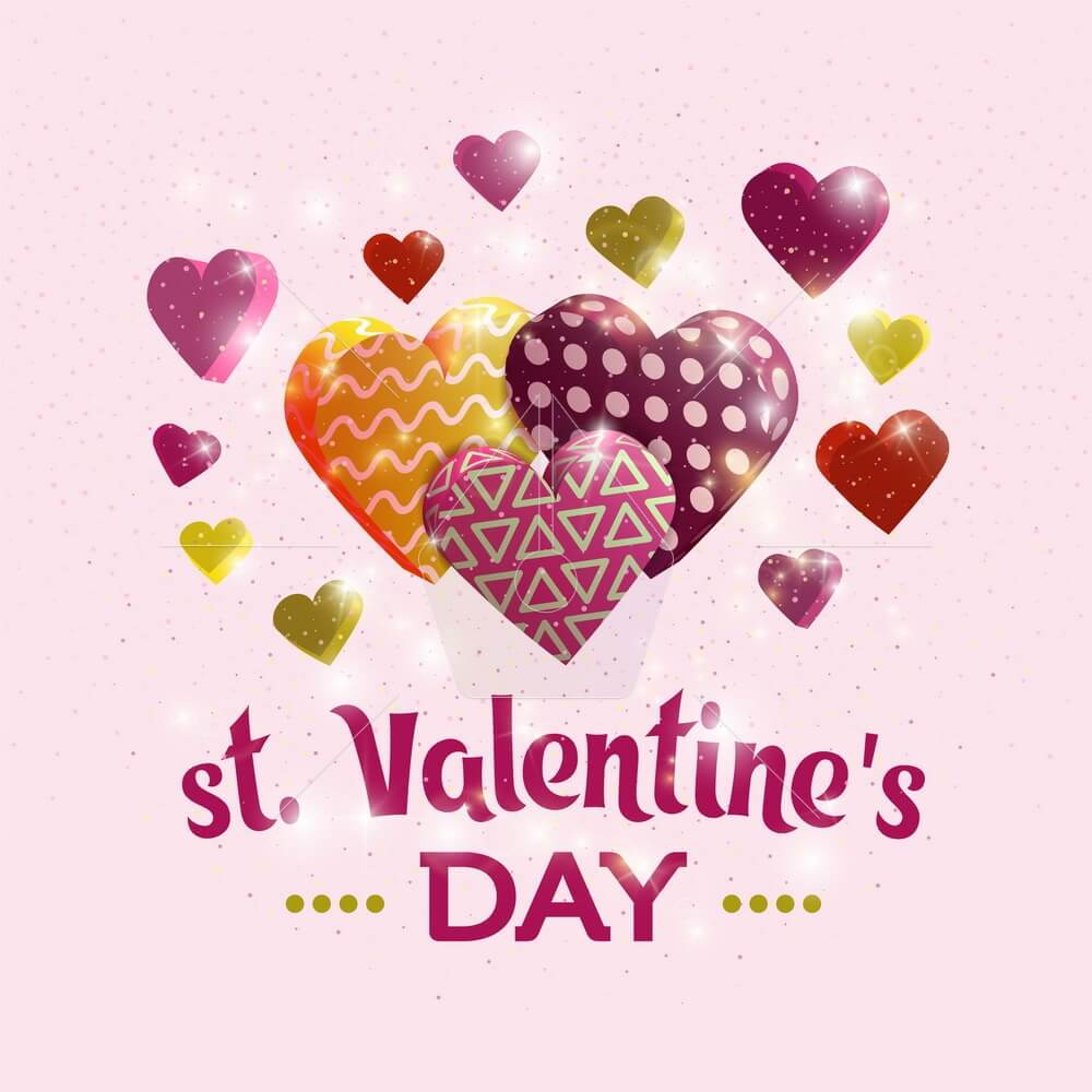 Happy Valentine's day banner. Greeting card design with hand lettering inscription. 3d hearts with textures. Template for postcards, website or magazine. Colorful design. Vector illustration.
