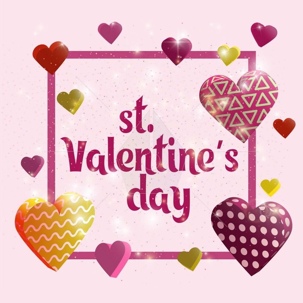 Happy Valentines day card. Greeting banner design with hand lettering inscription. 3d hearts with textures. Template for postcards, website or magazine. glowing 3d hearts. Vector illustration.