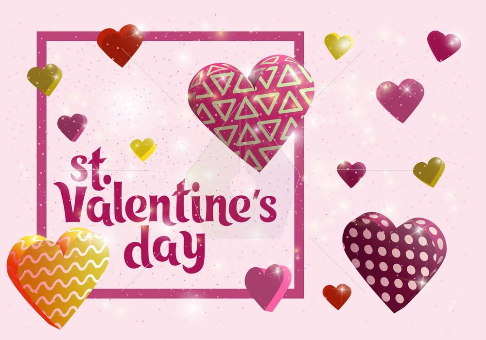 Happy Valentines day card. Greeting banner design with hand lettering inscription. 3d hearts with patterns. Template for postcards, website or advertising. hearts with highlights. Vector illustration