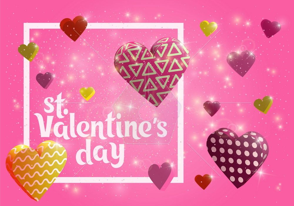Happy Valentines day banner. Greeting card design with hand lettering inscription. 3d hearts with textures. Template for postcards, website or magazine. glowing 3d hearts. Vector illustration.