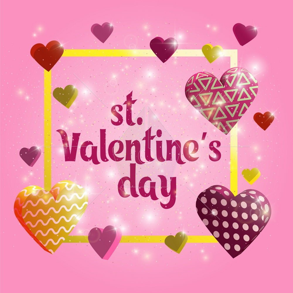 Happy Valentines day card. Greeting banner design with hand lettering inscription. 3d hearts with patterns. Template for postcards, website or advertising. glowing 3d hearts. Vector illustration