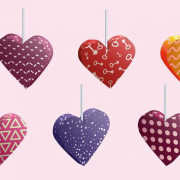 Happy Valentines day hearts set. Colorful design. 3d hearts with patterns. Template for postcards, website or advertising. glowing 3d hearts. Vector illustration