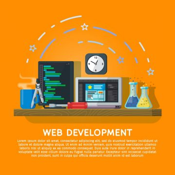 Flat color banner design concept for creative studio. Programming and coding. Modern flat design for Web Banner, Website Element or Book cover. Workspace designer and programmer. Vector illustration