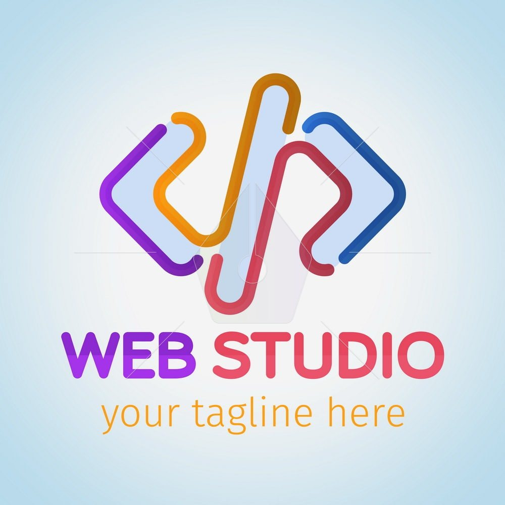 Logo for web studio painted colored flowing lines. Software and app for design company logo. Web studio or website agency logo. Material design colors. Vector illustration.