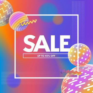 Special offer, big sale banner. Multicolored abstract vector holographic 3D background. Trendy liquid gradients. Template for banner and advertising poster. Vector illustration.