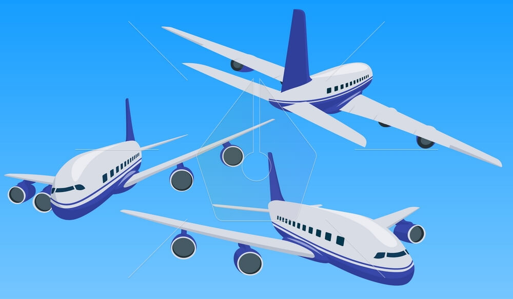 Private charter flights. Plane in a flat 3d style. Private plane charter with a red stripe. Isolated aircraft for air charter service. Vector image