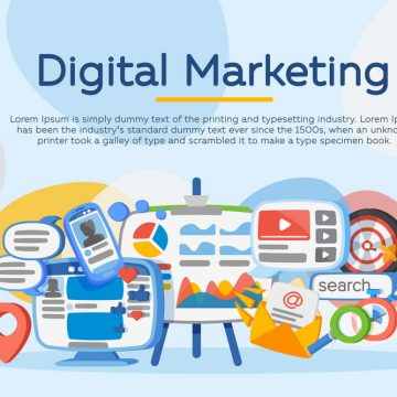 Business analysis. Digital marketing concept. Social network and media communication. Development of marketing strategy. Banner in the cartoon flat style. SEO, SMM and promotion. Vector illustration.
