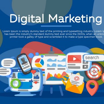 Digital marketing concept. Business development, lead generation. Social network and media communication. Development of marketing strategy. Banner in the cartoon flat style. SEO, SMM and promotion.