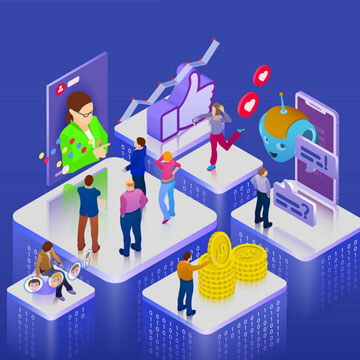 Chatbot, video broadcast, stories, SMM promotion, online analytics. 3d puzzle pieces. Flat 3d isometric banner. Website banner templates. Vector illustration.
