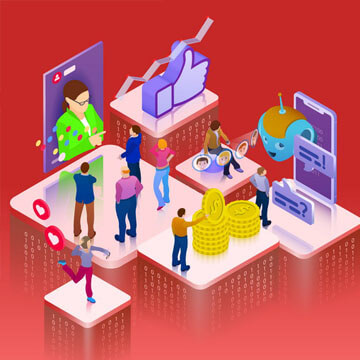 Promotion in social networks. Chatbot, video broadcast, stories, SMM promotion, online analytics. People in social network. 3d puzzle pieces. Landing page template. 3d vector isometric illustration.