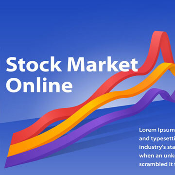 Stock market online visualization flat 3d web infographic concept. Graph of cryptocurrency or or foreign exchange. Infographics on a blue background. Template for a poster or banner.