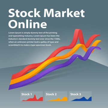 Stock market online. Visualization infographic concept. Linear graph 3d. Graph of cryptocurrency or or foreign exchange. Infographics on a gray background. Template for a poster or banner.