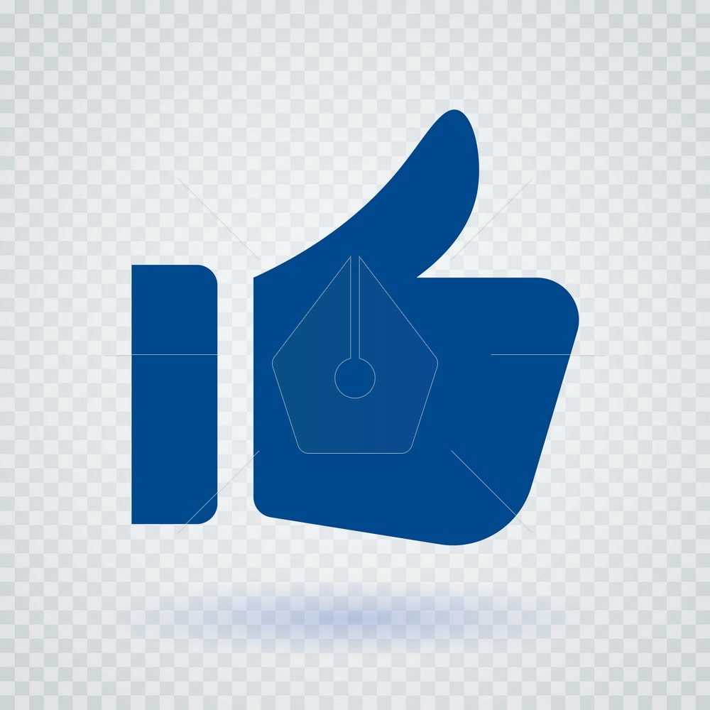 Thumb Up icon. Designed for web and software interfaces. Vector illustration style is flat iconic symbol, dark blue color, transparent background.