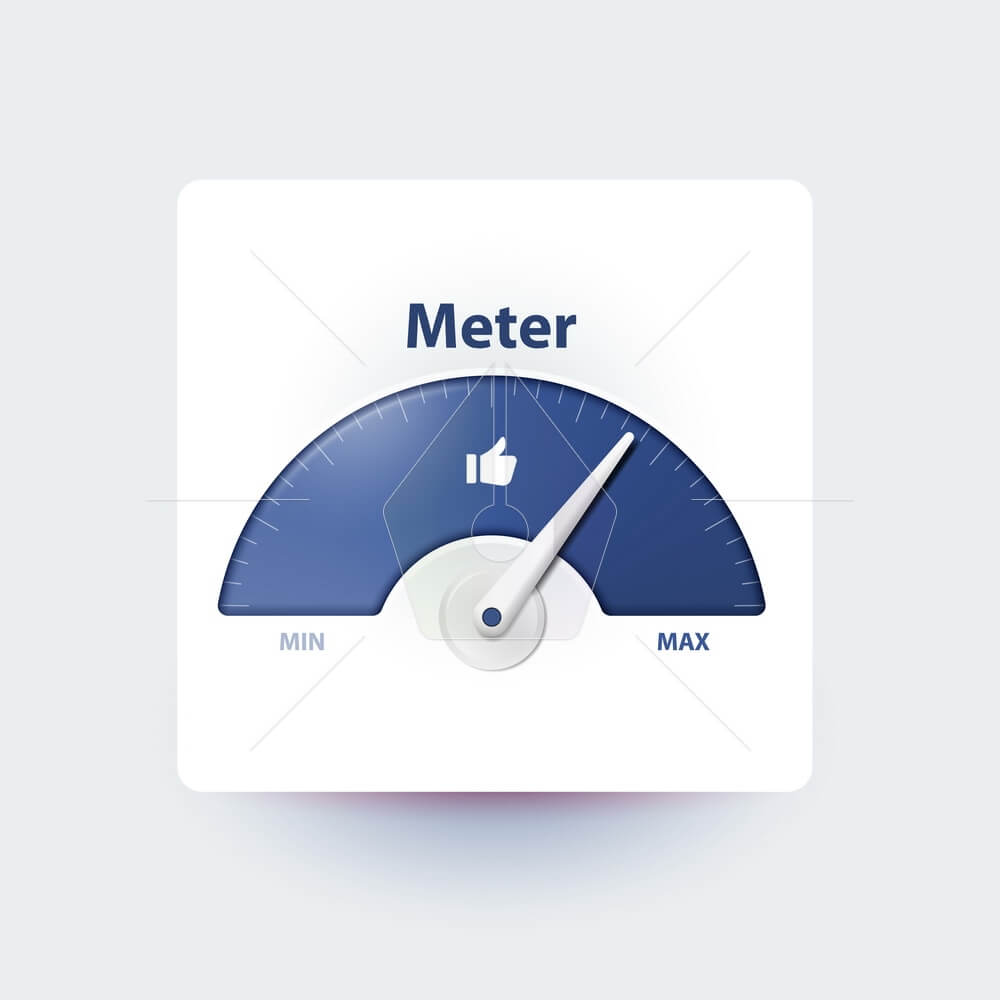 Measurement of activity in social media. Analysis and prediction of content popularity Measuring device with an arrow. Effective user involvement in social network. Isolated meter. Thumbs up.