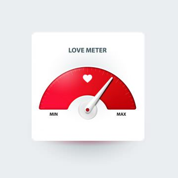 Love meter. Valentine's day greeting card design element. Measuring device of love. Vector illustration
