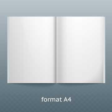 Two isolated templates of the B4 and A4 format. double page vector mockup on gray background. Vector image
