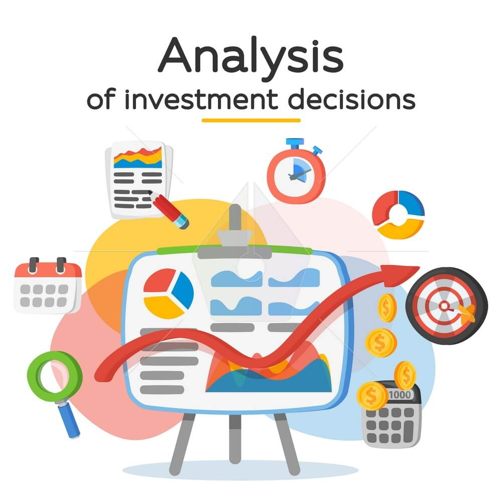 Investment attraction case studies and analysis. Return on investment, ROI, Business, profit. Profit schedule. Business icons in a modern flat style. Banner for website and ads. Vector illustration.