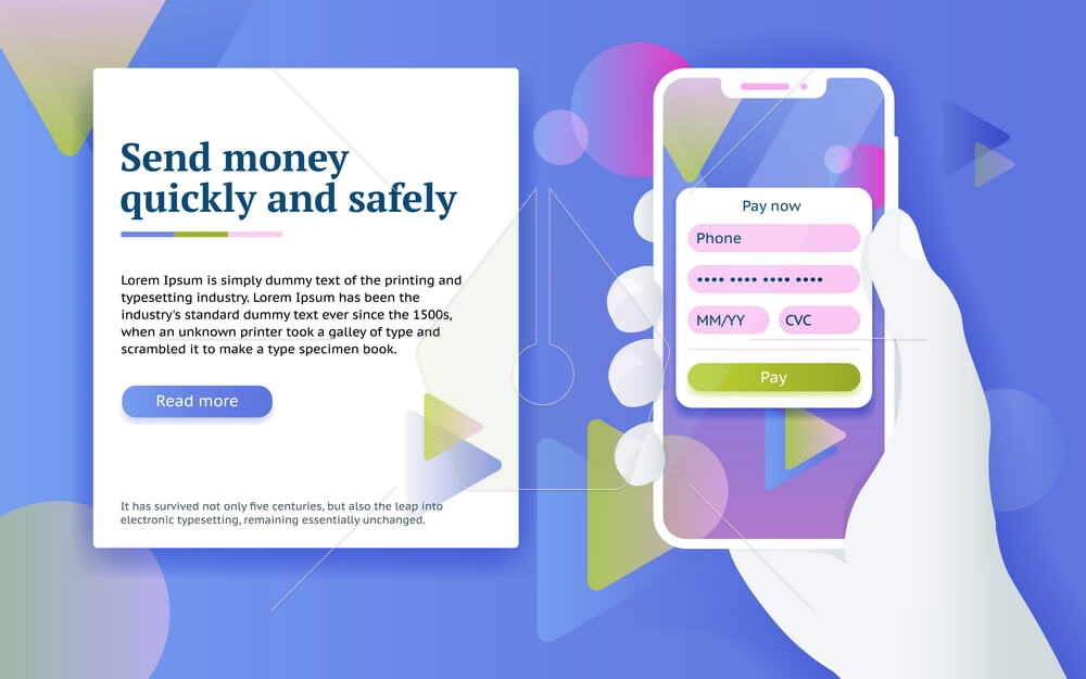 Man with phone in hand. Design concept from web banner and advertising. Online money transfer concept in flat style. Vector image.