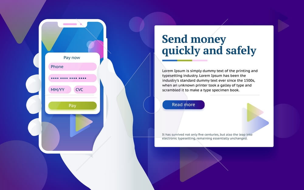 Credit card payment app. Money transfer design concept. Pay by smartphone. Man with phone in hand. Online payment via internet services. Design concept from web banner and advertising. Vector image