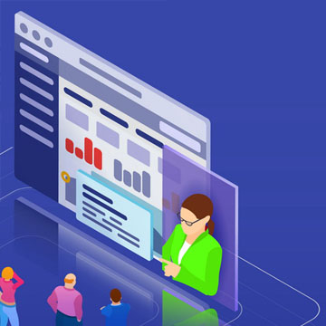 Online training, workshops and courses visualization flat 3d web isometric infographic concept vector template. People look at the screen and listen to the coach. Vector illustration