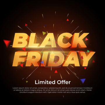 Black Friday Sale label. Discount and promotion banner. 3d inscription with highlights and sparks of gold color. Design element for sale banners, posters, cards. Vector Illustration