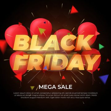 Black Friday Sale label. Discount and promotion banner. Volumetric letters of gold color. 3d inscription, ribbons and red balloons on a dark background. Design element for sale banners, posters.