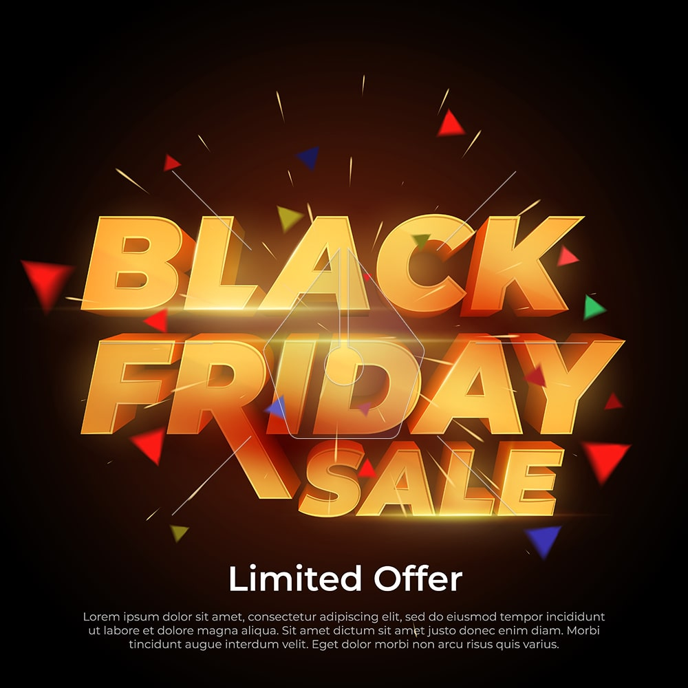 Black Friday Sale. 3d letters numbers gold. Sale and discounts banners. Creative glowing social media banner design. Design element for sale banners, posters, cards. Vector Illustration
