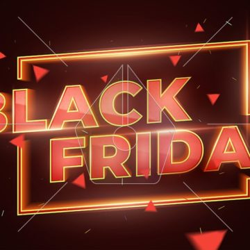 Black Friday Sale Promotion Poster or banner. Social Media Banner Design Template. 3d inscription with highlights and sparks of gold and red colors. Discount and promotion banner. Vector Illustration
